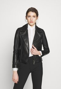 Victoria Victoria Beckham - BIKER JACKER - Leather jacket - black - 0