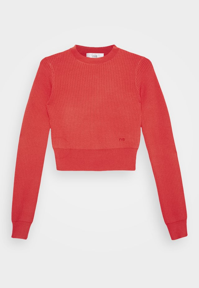 CROPPED LONG SLEEVE JUMPER - Bluza - neon coral