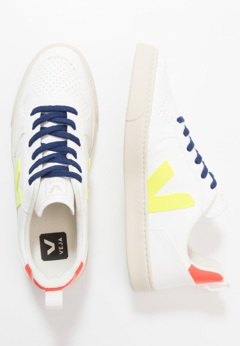 Veja - SMALL V-10 LACE - Trainers - white/jaune fluo/orange fluo