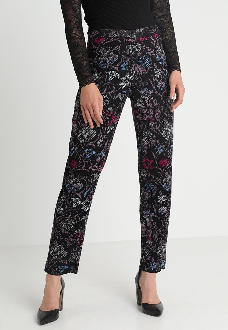 Ivko - PANTS FLORAL PATTERN - Trousers - anthracite