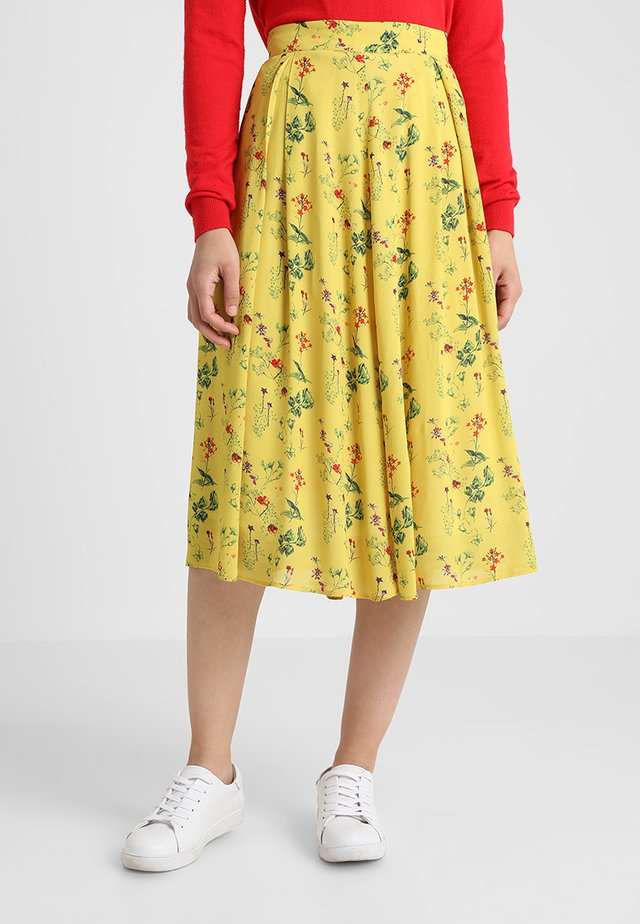 SKIRT FLORAL PRINT - A-Linien-Rock - yellow