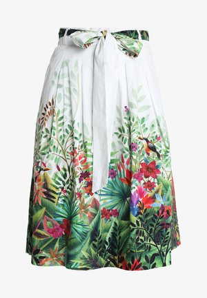 SKIRT WITH TROPIC FOREST PRINT - A-linjainen hame - white