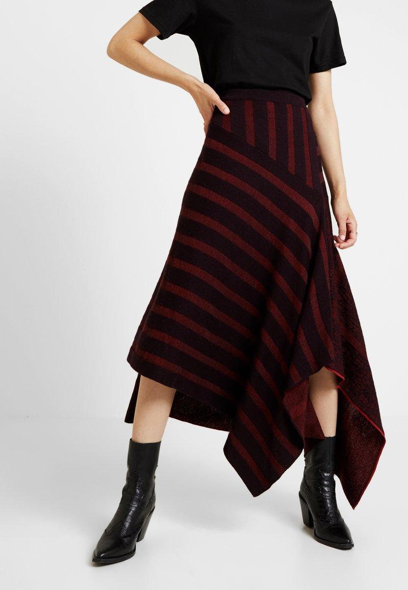 Ivko - ASYMMETRIC SKIRT - A-line skirt - brown red