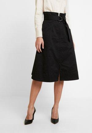 ZIP DOWN SKIRT - Spódnica trapezowa - black