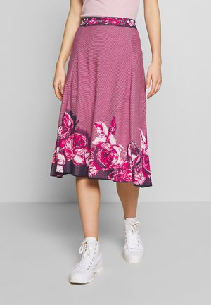 SKIRT INTARSIA PATTERN - A-line skirt - pink