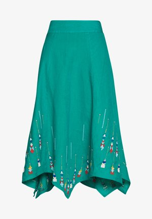 SKIRT WITH EMBROIDERY - Spódnica trapezowa - turquoise