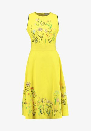 DRESS FLORAL EMBROIDERY - Vestido informal - yellow
