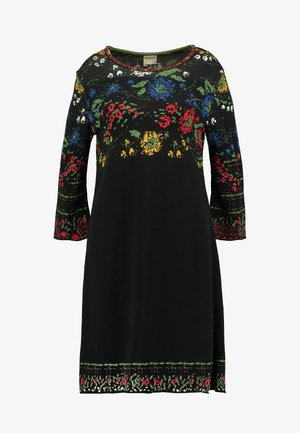 DRESS FLORAL PATTERN - Strickkleid - black
