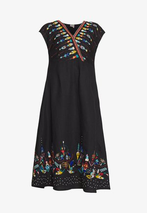 DRESS WITH EMBROIDERY - Vestito estivo - black