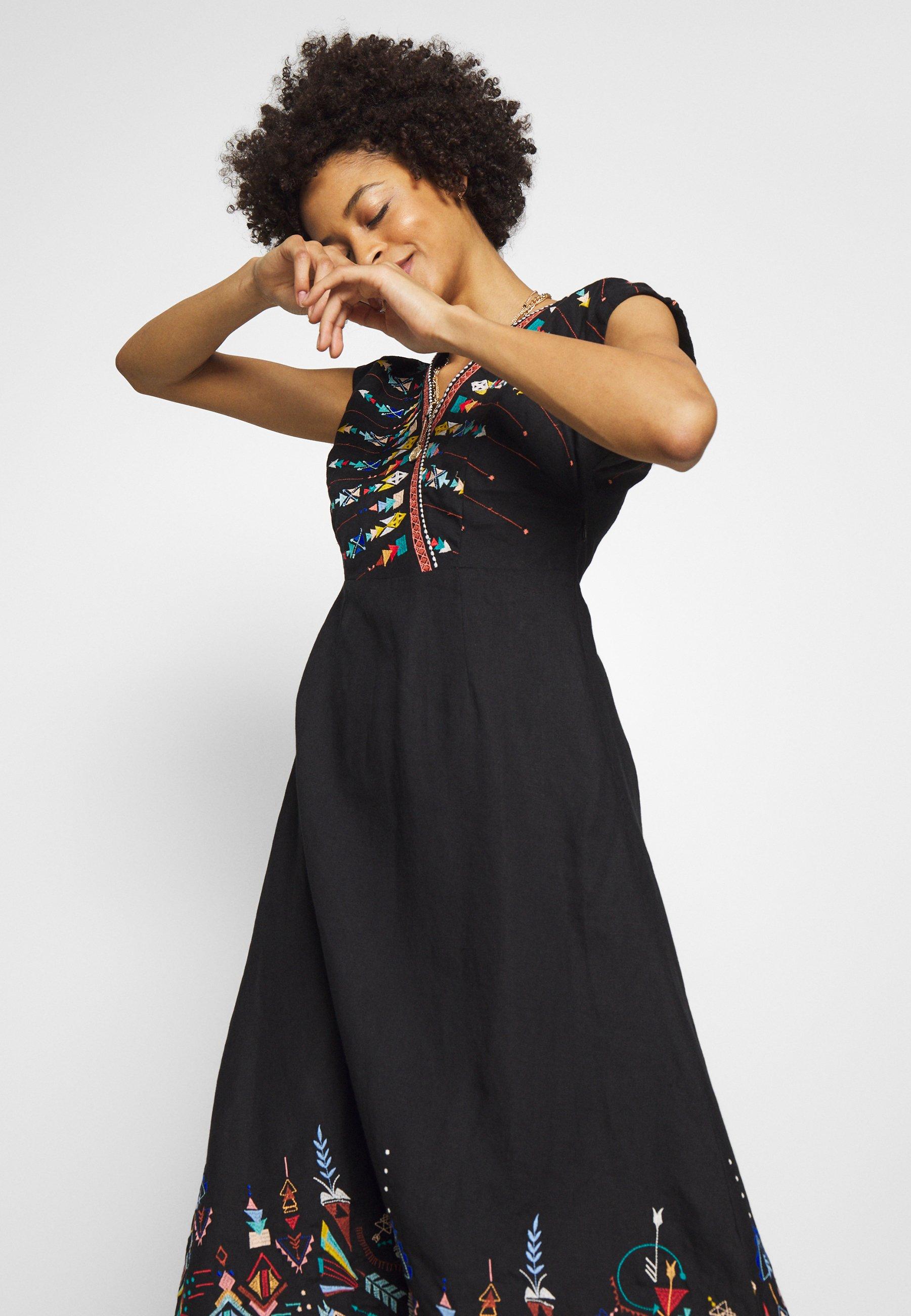 Ivko DRESS WITH EMBROIDERY - Sukienka letnia - black