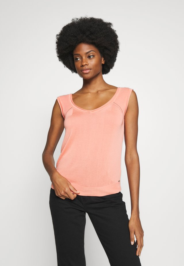 PULLOVER  STRUCTURE PATTERN - T-shirt - bas - peach