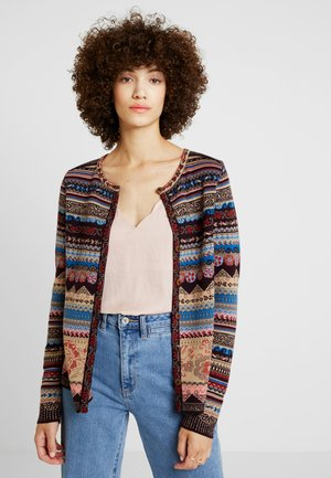 CARDIGAN GEOMETRIC PATTERN - Strickjacke - brown/red