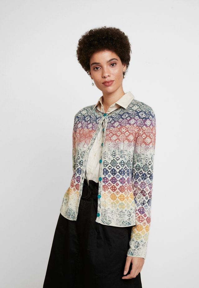 CARDIGAN GEOMETRIC PATTERN - Kardigan - off white