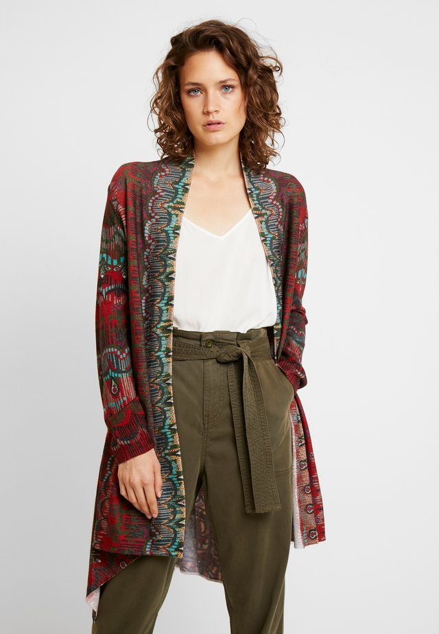 LONG CARDIGAN GEOMETRIC - Strickjacke - brown/red