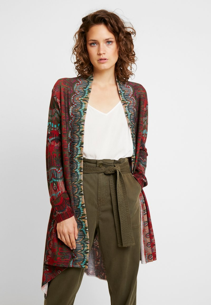 Ivko - LONG CARDIGAN GEOMETRIC - Cardigan - brown/red