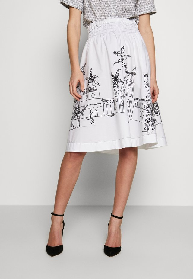 RIVEN - A-line skirt - white