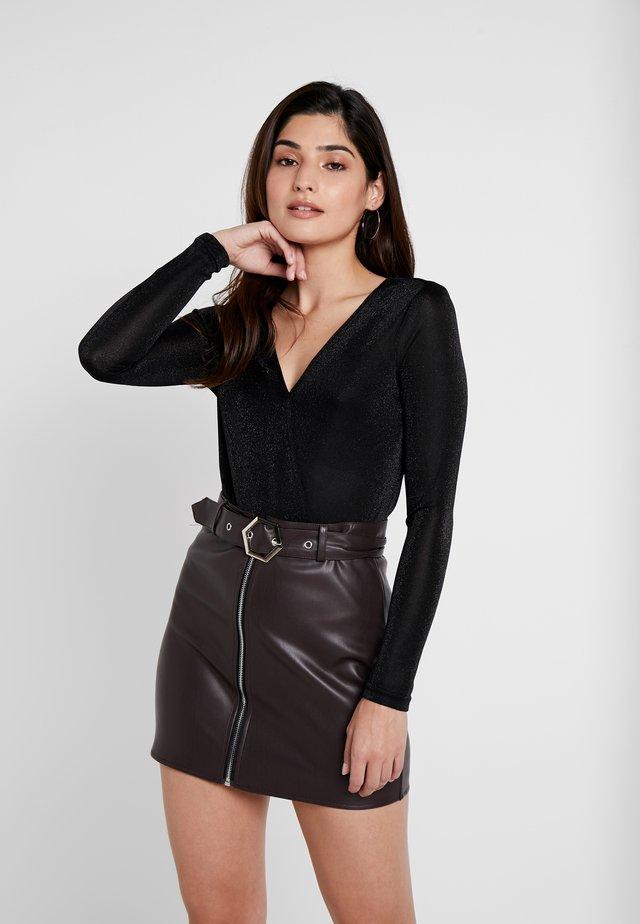 VMDENISE WRAP BODY BOO - Long sleeved top - black/metallic