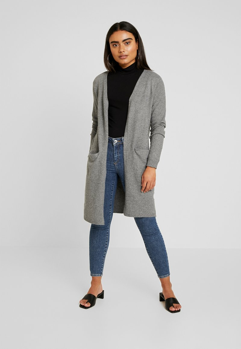Vero Moda Petite - VMBRILLIANT LONG OPEN CARDIGAN - Kardigan - medium grey melange