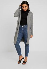 Vero Moda Petite - VMBRILLIANT LONG OPEN CARDIGAN - Kardigan - medium grey melange - 1