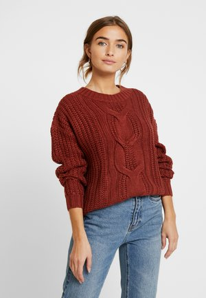 VMPRESLEY ALPINE O-NECK BLOUSE - Jumper - madder brown