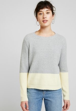VMDOFFY BLOCK - Jersey de punto - light grey melange/pale banana
