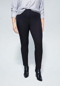 Violeta by Mango - ELASTIC - Trousers - black - 0