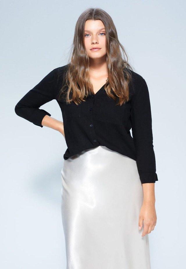 BASILI - Button-down blouse - schwarz