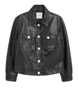 TRUCKER - Leather jacket - schwarz