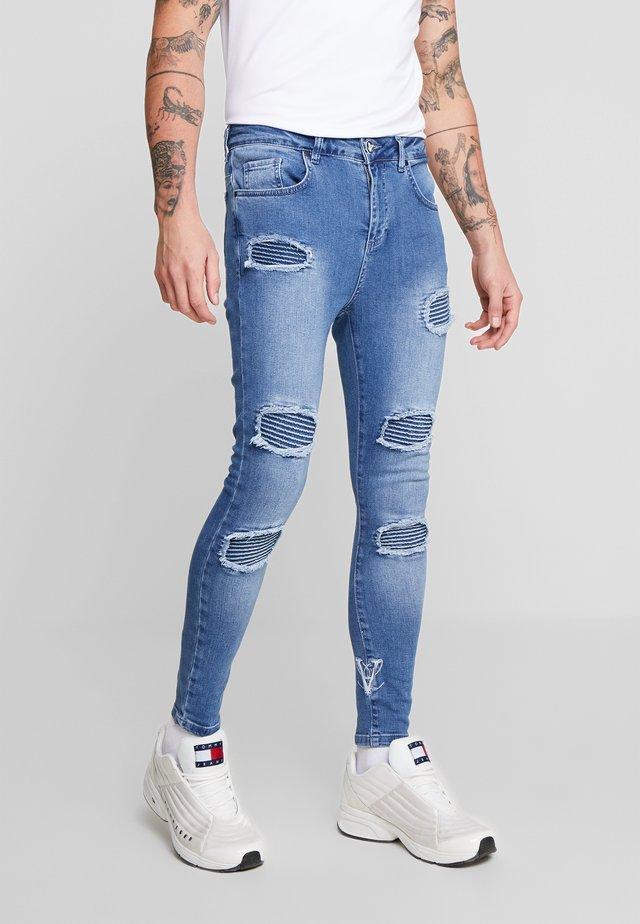 BIKER RIPPED - Jeans Skinny Fit - - blue
