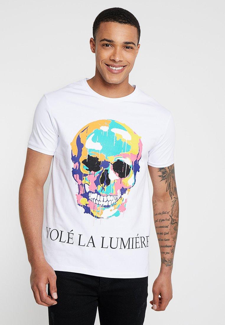 Volé la lumière - PAINT DRIPPING SKULL - Camiseta estampada - white