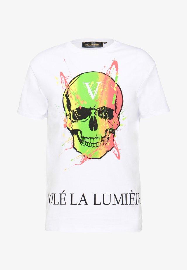 PAINT SPLATTER SKULL - Print T-shirt - white