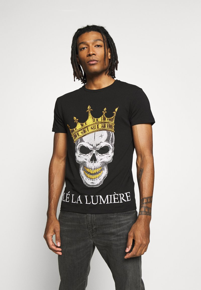 Volé la lumière - RHINESTONE KING SKULL - Print T-shirt - black