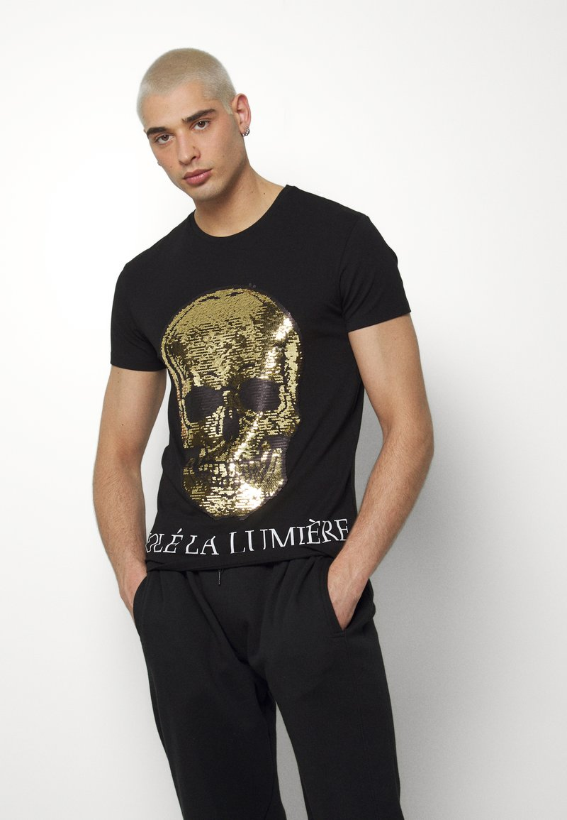 Volé la lumière - TWO FACED SEQUIN SKULL - T-shirt z nadrukiem - black