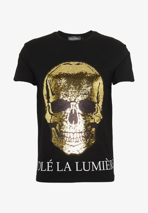 TWO FACED SEQUIN SKULL - Camiseta estampada - black