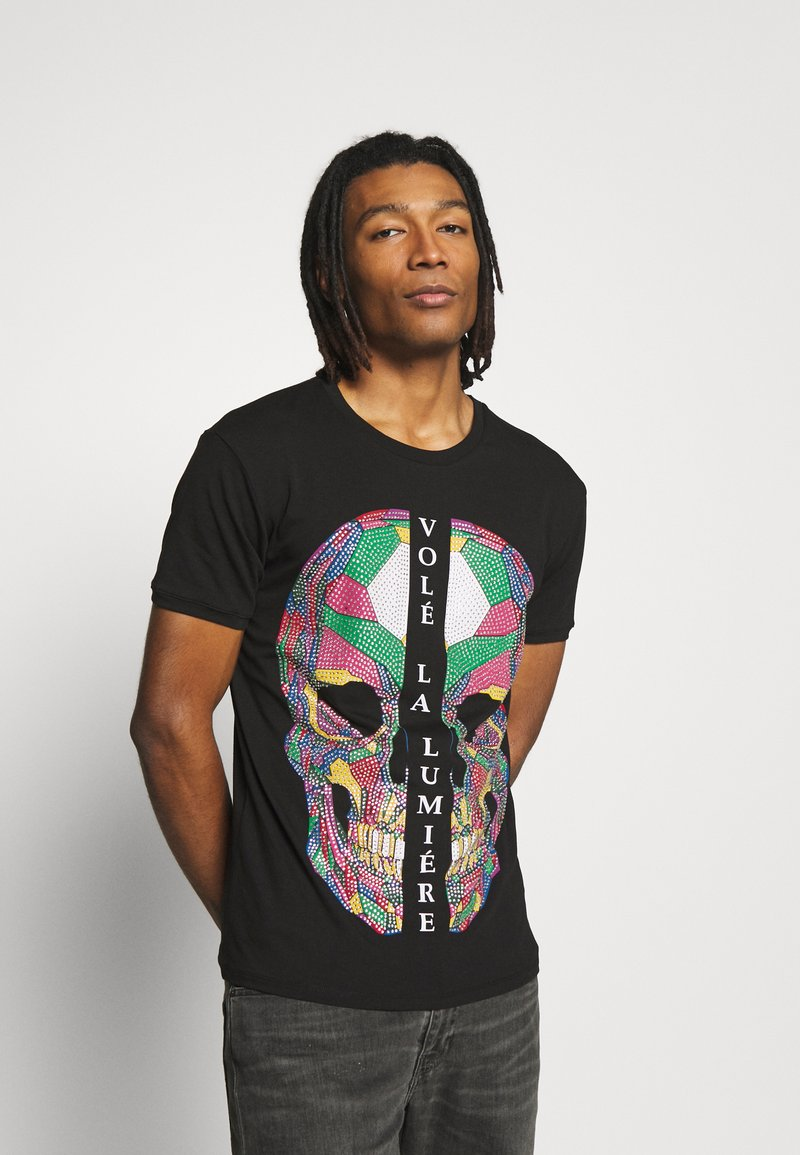 Volé la lumière - RHINESTONE SKULL - T-shirt print - black