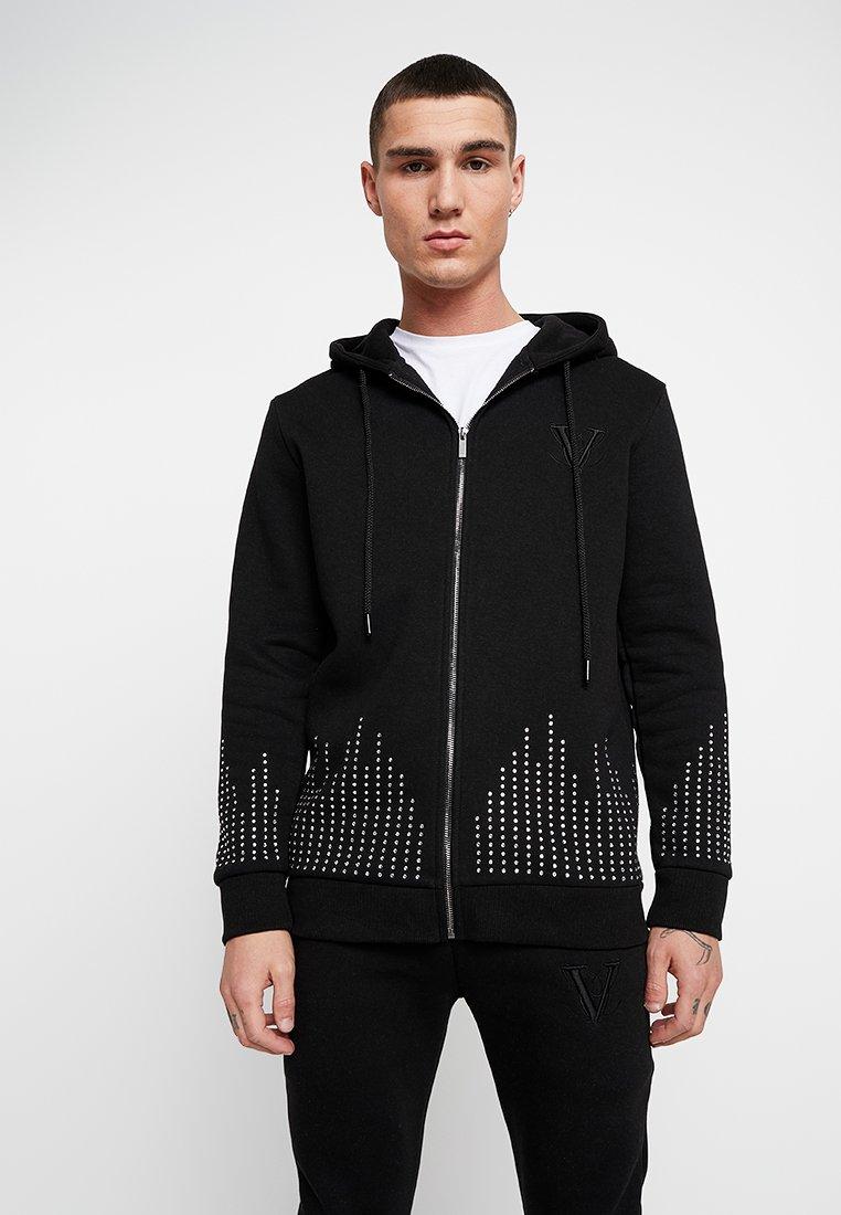 Volé la lumière  - RHINESTONE RAINFALL HOODIE - Zip-up hoodie - black