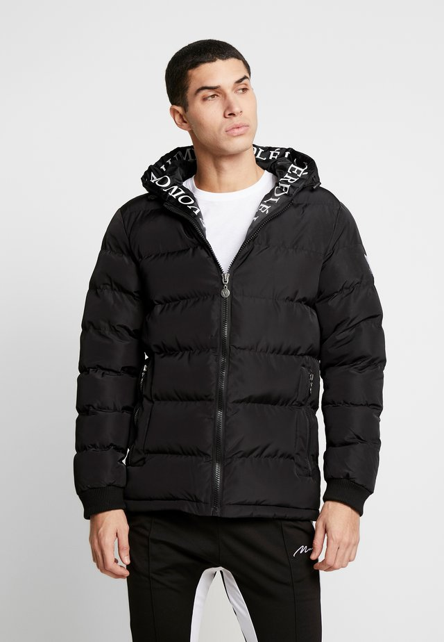 PUFFER JACKET WITH TAPED HOOD - Dunjacka - black