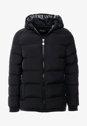 PUFFER JACKET WITH TAPED HOOD - Chaqueta de plumas - black