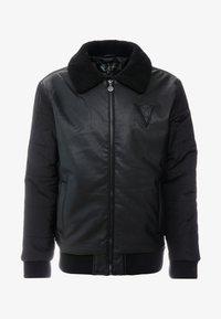 Volé la lumière - BORG COLLAR JACKET - Faux leather jacket - black - 4