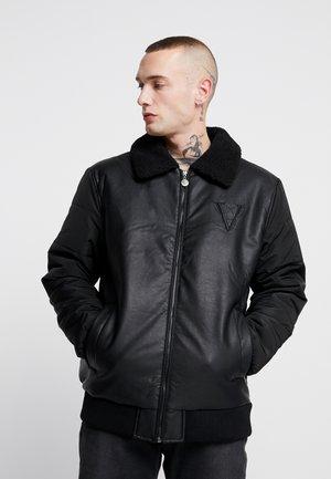 BORG COLLAR JACKET - Faux leather jacket - black