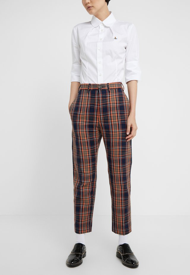 LONG JAMES BOND TROUSERS - Bukse - navy tartan