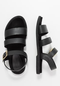 Warehouse - MULTI STRAP FOOTBED - Sandals - black - 3