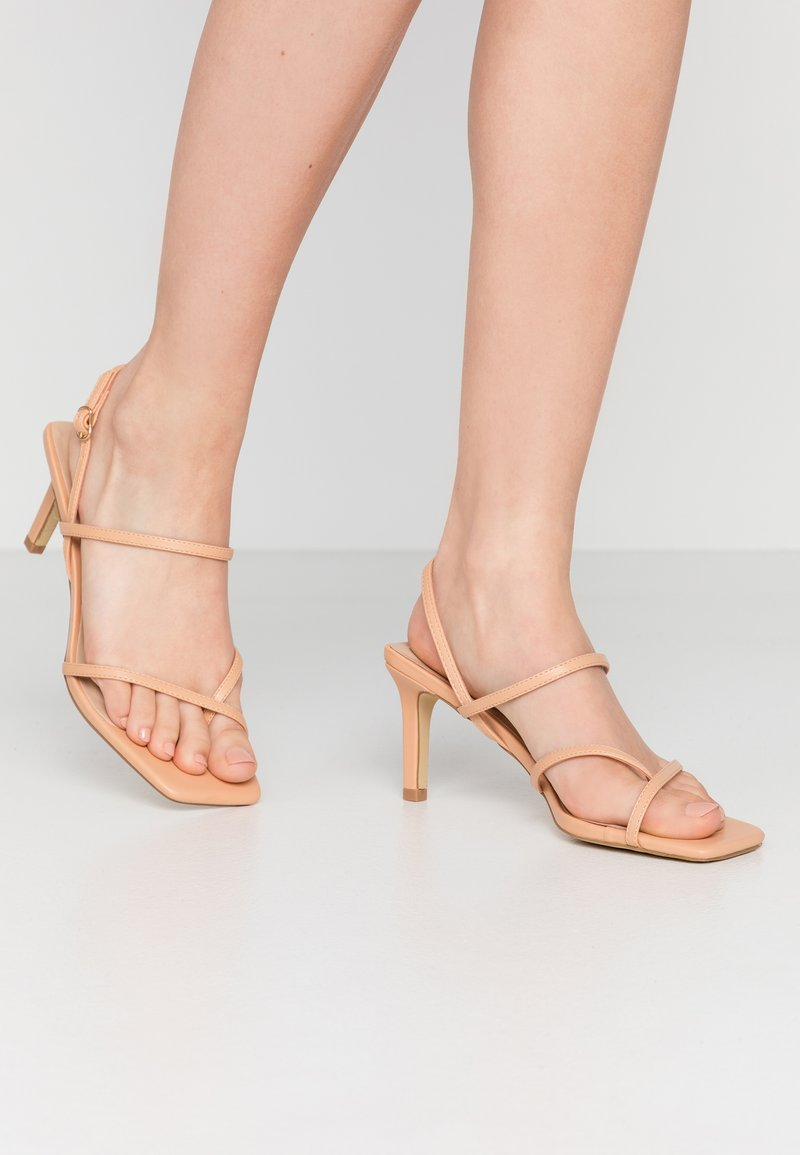 Warehouse - SQUARE TOE STRAPPY  - High heeled sandals - camel