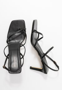 Warehouse - SQUARE TOE STRAPPY  - High heeled sandals - black - 3