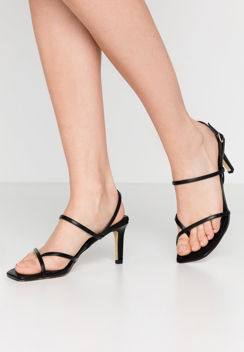 Warehouse - SQUARE TOE STRAPPY  - High heeled sandals - black