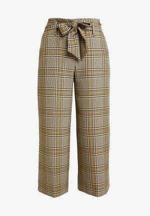 WIDE TIE CHECK TROUSERS - Pantalones - brown