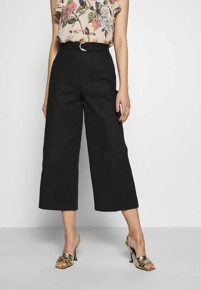 COMPACT WIDE LEG TROUSER - Trousers - black