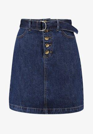 D-RING BELTED SKIRT - A-line skirt - dark wash