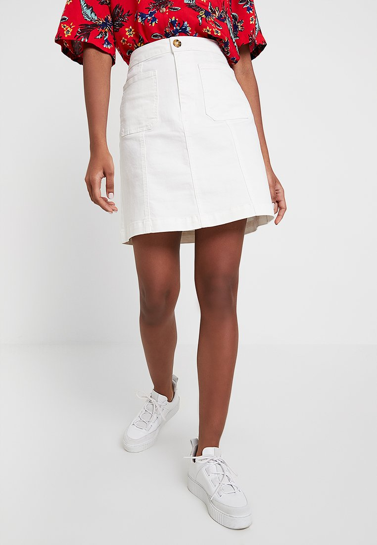 Warehouse - ZIP DETAIL SEAMED DETAIL SKIRT - A-line skirt - white