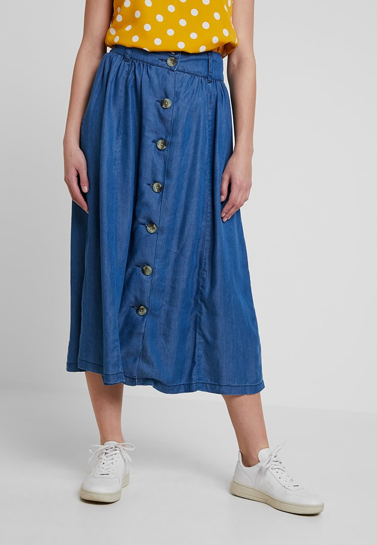 Warehouse - BUTTON THROUGH MIDI SKIRT - A-line skirt - mid wash
